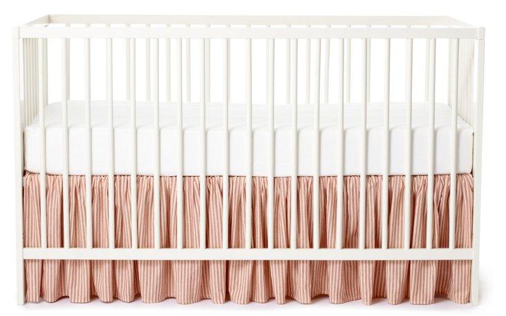 Rebecca Ticking Crib Bed Skirt