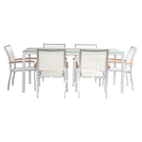 Koko 7-Pc Outdoor Dining Set, Silver/White