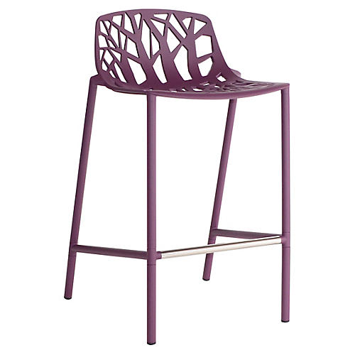 Forest Low-Back Counter Stool, Plum