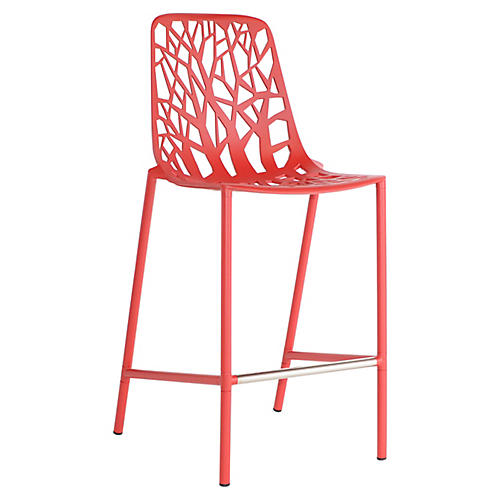 Forest High-Back Counter Stool, Red