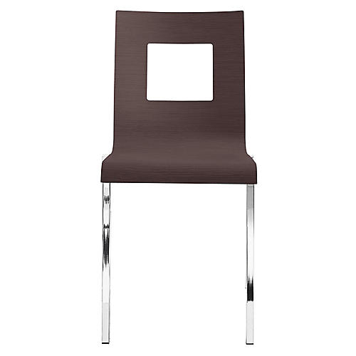 Ecco Side Chair, Wenge/Chrome