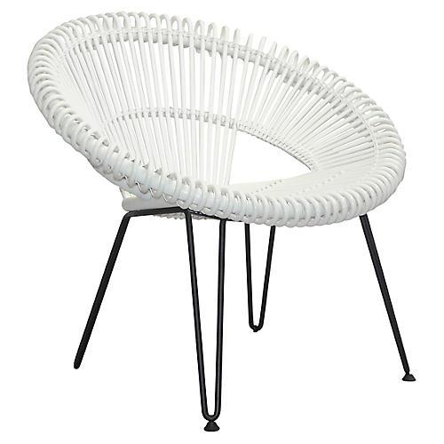 Cruz Accent Chair, Silver/White