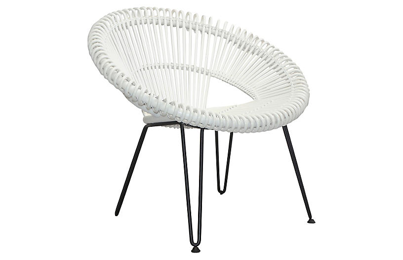 Cruz Accent Chair - Silver/White - JANUS et Cie