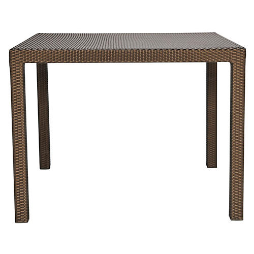 Woven Square Dining Table, Bronze