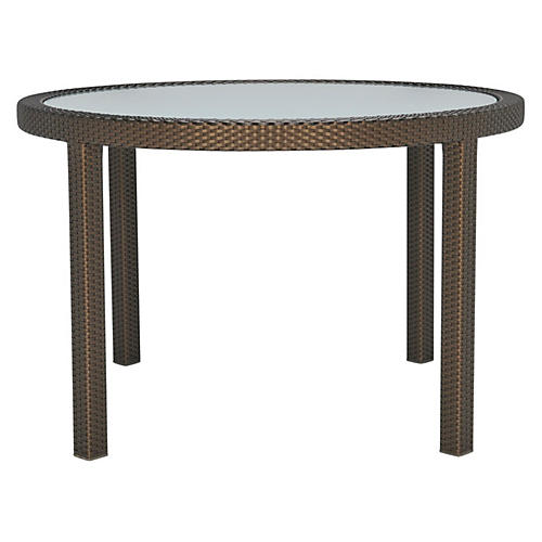 Glass-Top Round Dining Table, Bronze