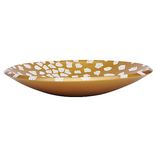 "11"" Adjourn Bowl, Gold/White"