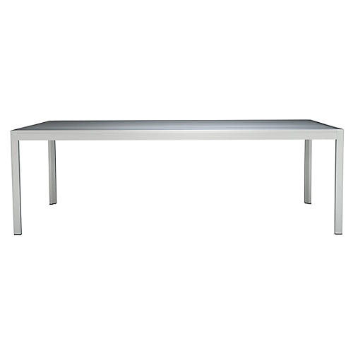 Domino Outdoor Dining Table, Silver