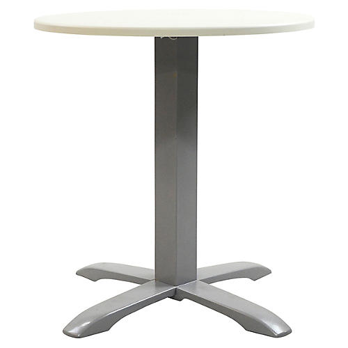 Easy Round Outdoor Bistro Table, Silver/Ivory