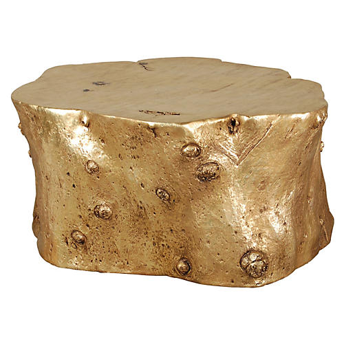 Faux Bois Log Coffee Table, Gold