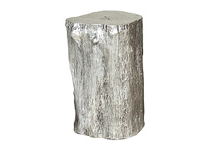 Silver Resin Log Stool, Small