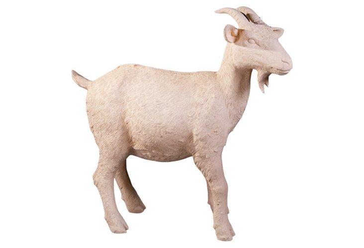 Decorative Resin Goat, White