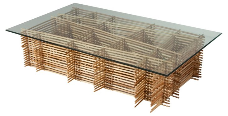 Wicker Coffee Table, Almond