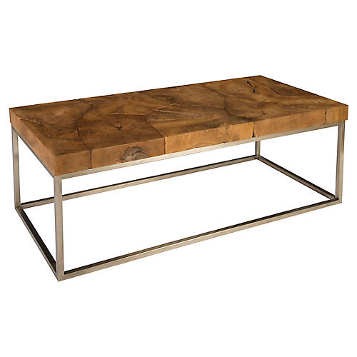 "48"" Teak Coffee Table, Natural"