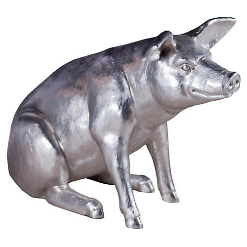 "45"" Seated Pig Figure, Silver"