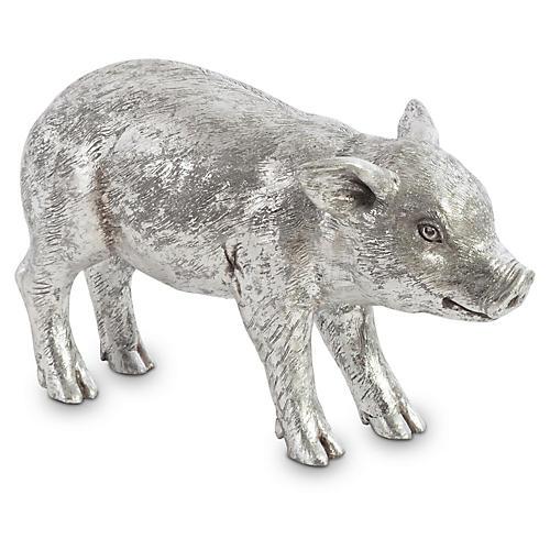 "16"" Standing Piglet Figure, Silver"