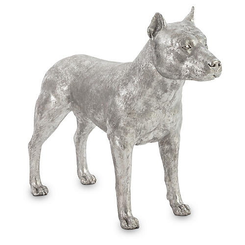"34"" Pit Bull Figure, Silver"