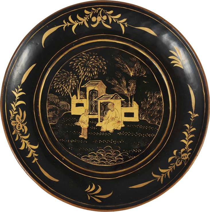 Chinese Black & Gold Lacquer Plate