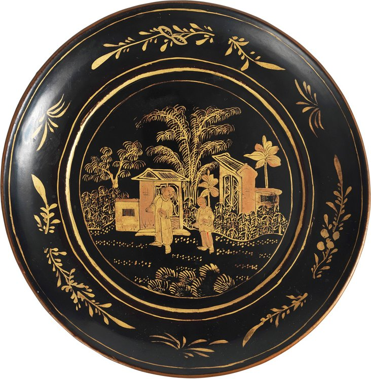 Chinese Black & Gold Lacquer Plate II
