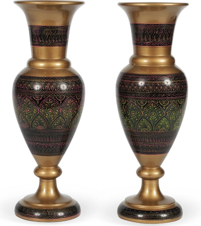 Painted Wood Vases, Pair