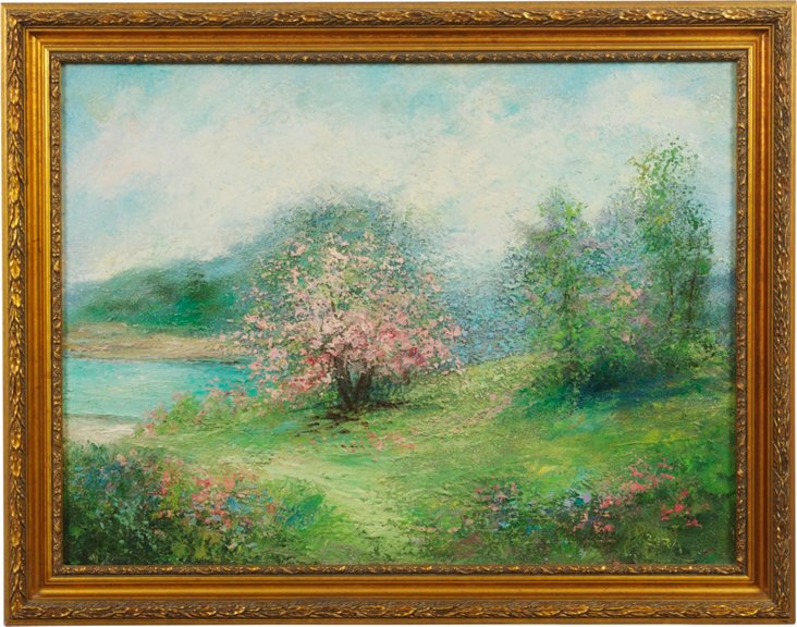 Oil Painting, Spring Meadow, C. 1950