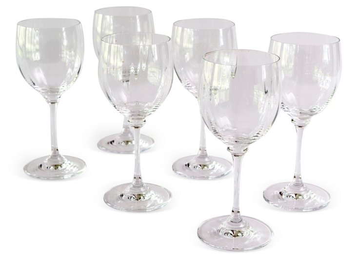 Glasses w/ Fluted Sides, Set of 6