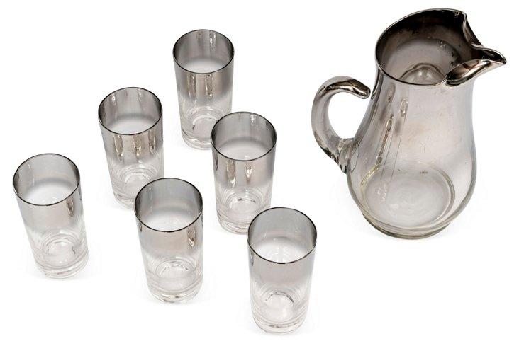 Chrome & Glass Pitcher & 6 Glasses