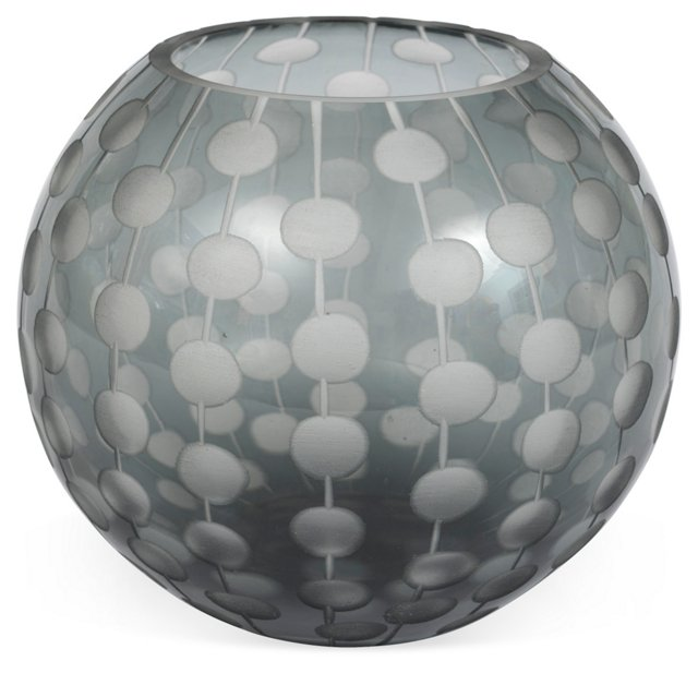 Gray Glass Vase w/ Etched Circles