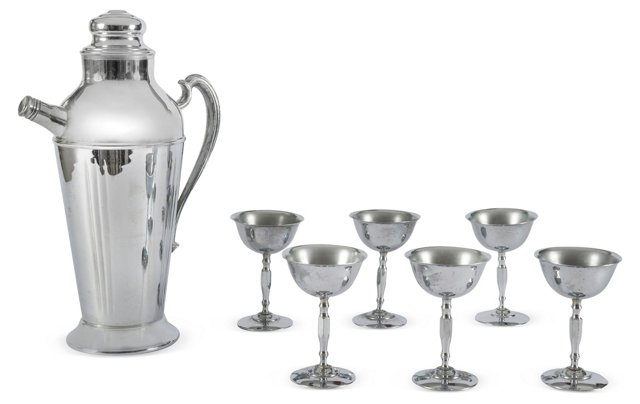 Art Deco Cocktail Shaker w/ 6 Glasses