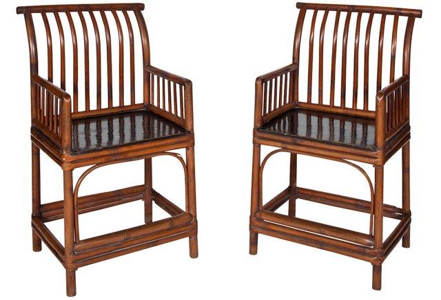 Teak Wood Armchairs, Pair