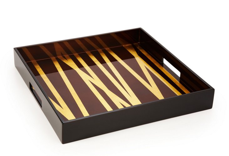 Square Grass Styx Lacquer Tray, Choc