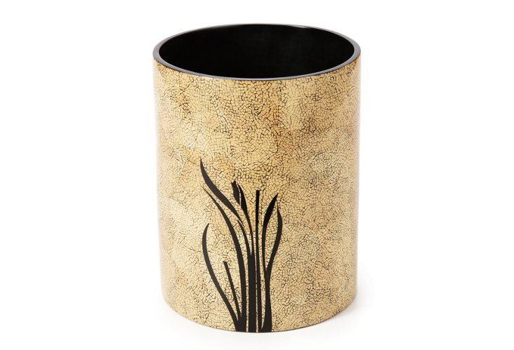 "9"" Wastebasket, Bloom & Eggshell"
