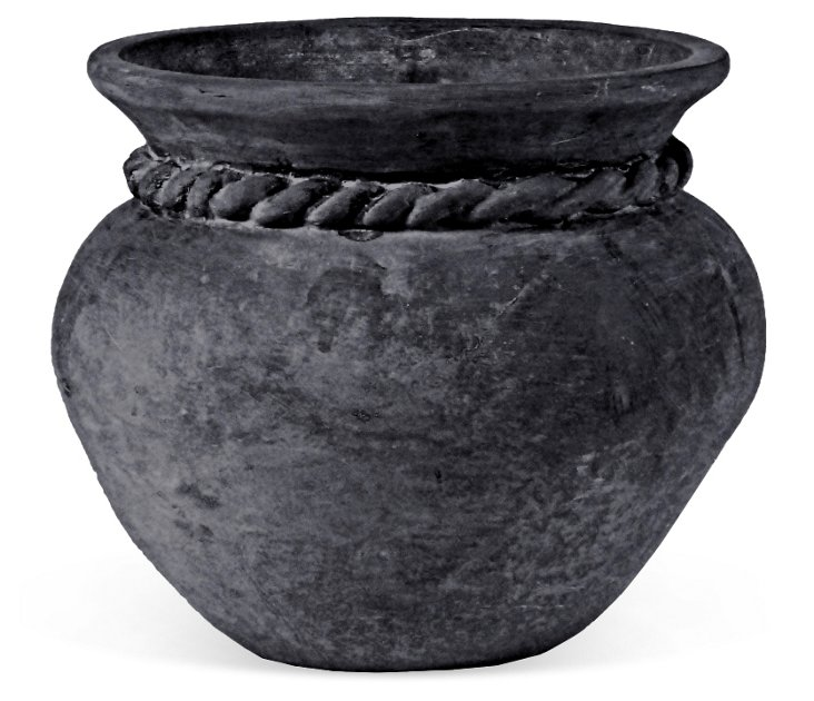 """20"""" Roped Bell Planter, Charcoal"""