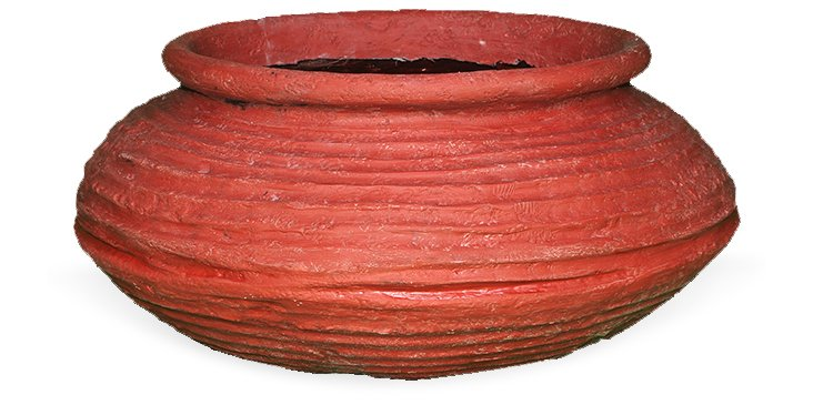 """22"""" Squat Beehive Planter, Red"""