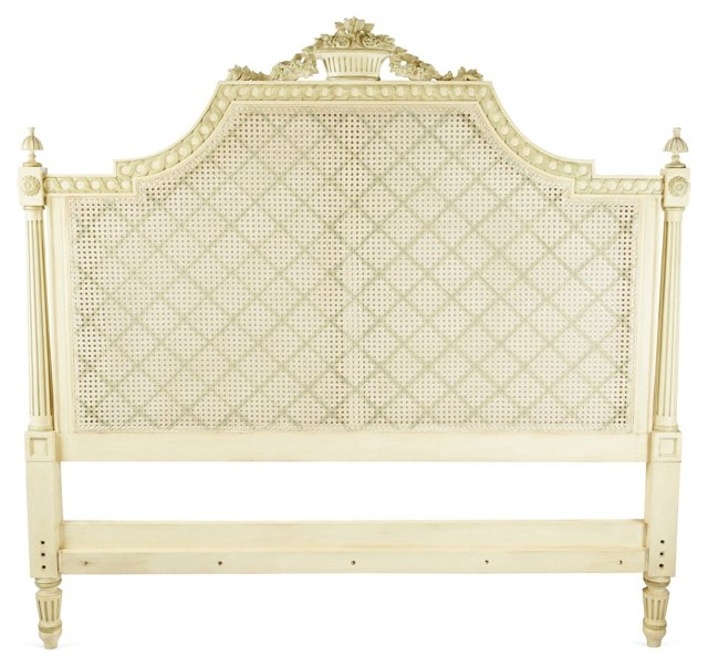 Floral Basket Cane Headboard, Queen