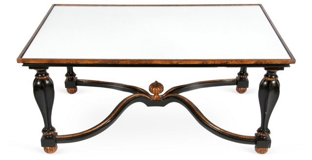 Regency-Style Mirror-Top Coffee Table