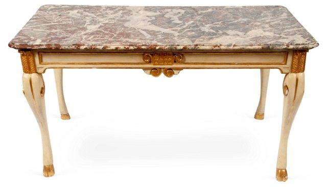 Antique Continental Marble Top Table