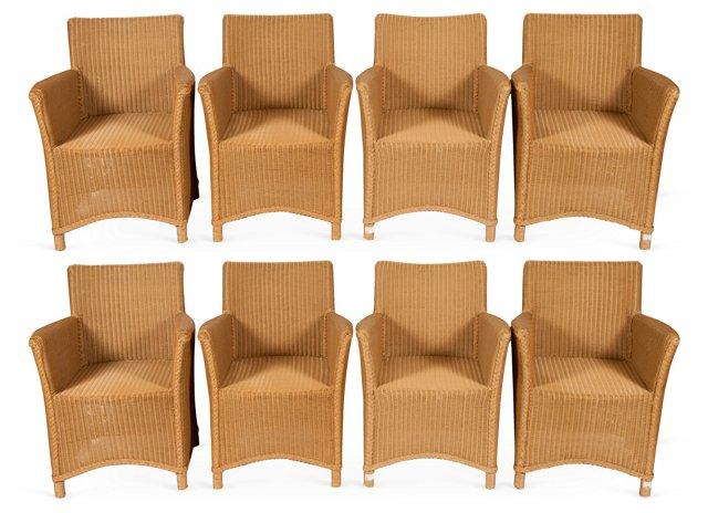 Wicker Armchairs, Set of 8