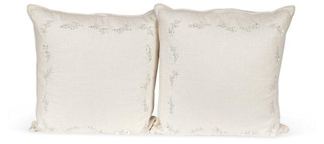 Linen & Coral Pillows, Pair