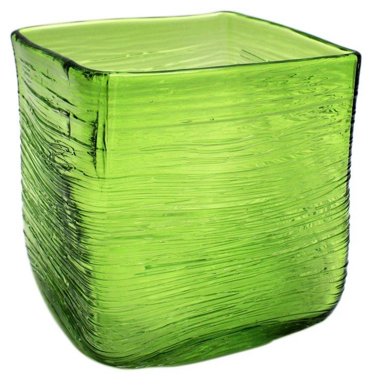 "6"" Honaw Square Vase, Green"
