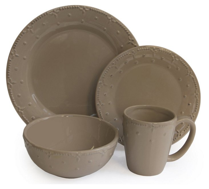 16-Pc Genevieve Dinnerware Set, Taupe