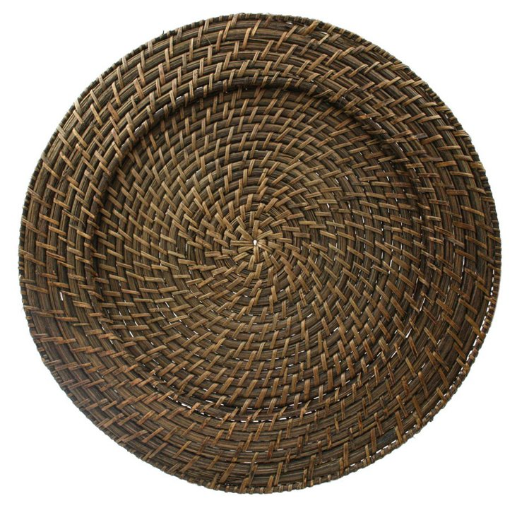 S/4 Round Rattan Chargers, Brown
