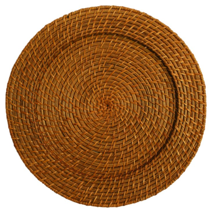 S/4 Round Rattan Chargers, Honey