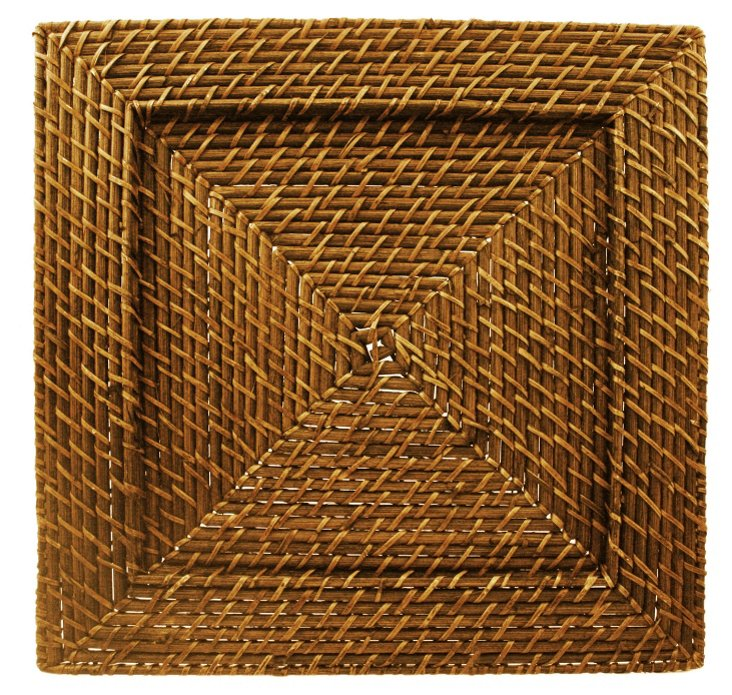 S/4 Square Rattan Chargers