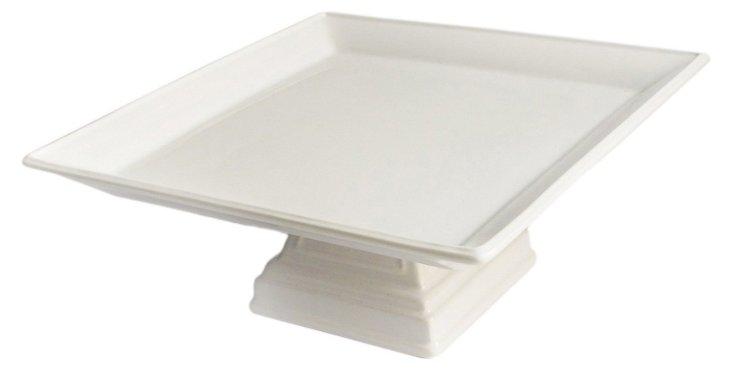 "10"" Ceramic Square Pedestal Plate, Ivory"