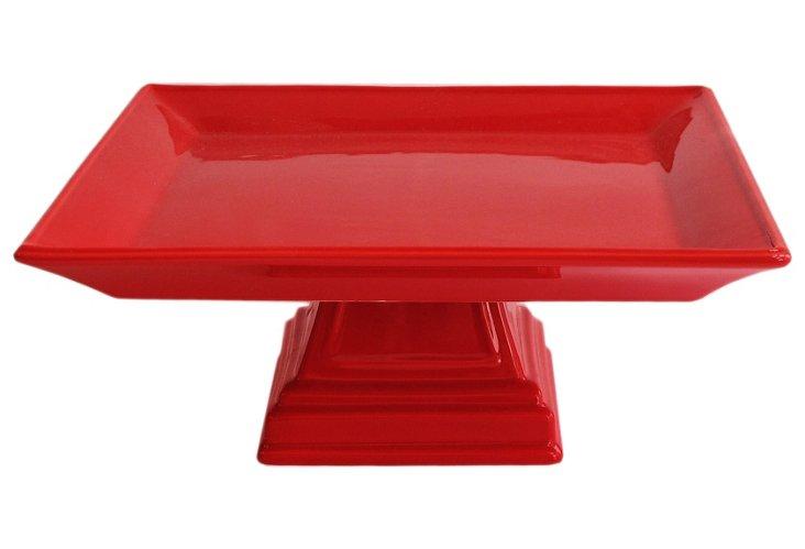 "10"" Ceramic Square Pedestal Plate, Red"