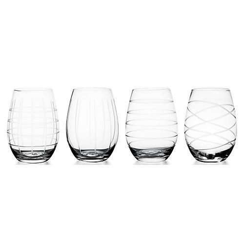S/4 Medallion Stemless Wineglasses
