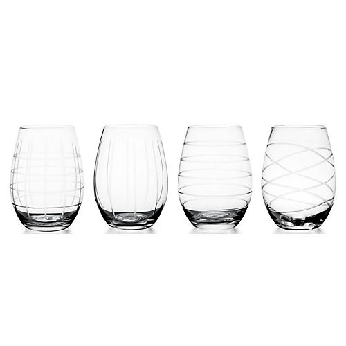 S/4 Medallion Stemless Wineglasses