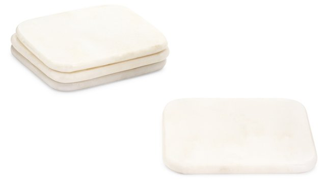 S/4 Marble Coasters, White