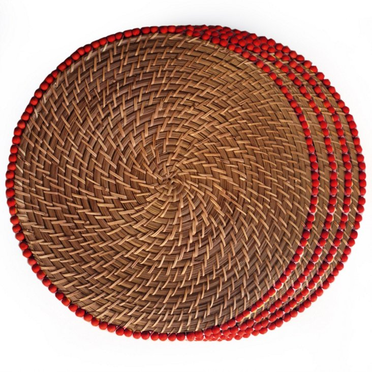 S/4 Beaded Place Mats, Red
