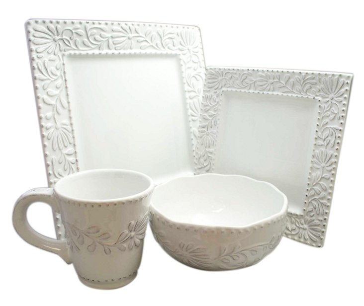 16-Pc Bianca Leaf Square Dinnerware Set
